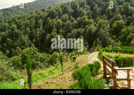 Dilijan,Armenia,August 24,2018: Recreation area in the Park surrounded by dense forest, on the territory of the monastery Haghartsin located in the mo - Stock Photo