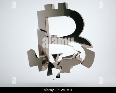 Black bitcoin symbol shattered and broken on grey background. 3d render, 3d animation - Stock Photo