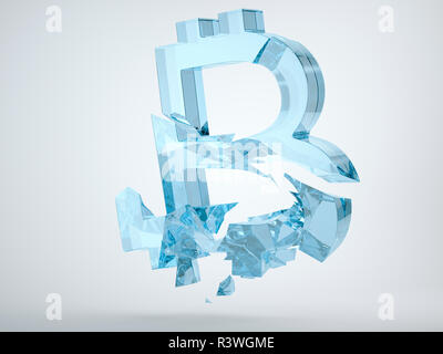 Glass bitcoin symbol with cracks on grey background. 3d render, 3d animation - Stock Photo