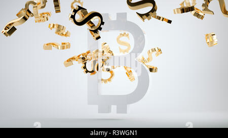 Bitcoin devaluation symbol and shattered golden dollar currency symbols. 3d render, 3d illustration - Stock Photo