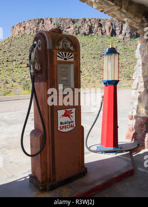 Arizona, Cool Springs, Gas Pump, 1920's Route 66 Gas Station (restored) - Stock Photo