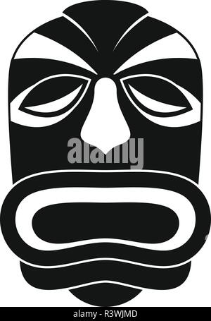 Tiki idol mask icon. Simple illustration of tiki idol mask vector icon for web design isolated on white background - Stock Photo