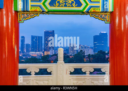 KUALA LUMPUR, MALAYSIA - JULY 28: Night view of Kuala Lumpur city buildings taken from the famous Thean Hou Temple on July 28, 2018 in Kuala Lumpur - Stock Photo