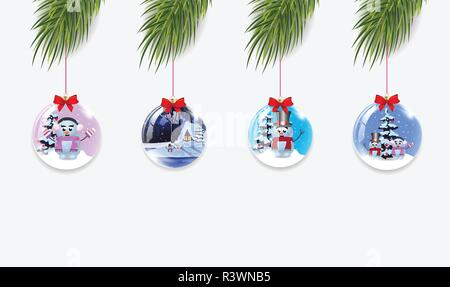 Vector set of Christmas tree branches with xmas and new year balls decorated with ribbon isolated on white background. Collection of Clip art, icons,  - Stock Photo