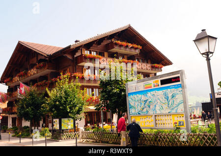 Swiss alps: The Hotel Adler in Adelboden in a swiss chalet with a excellent Gourmet Restaurant - Stock Photo