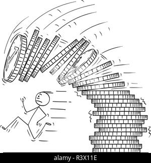 Cartoon of Man or Businessman Running Away From Falling Pile or Stack of Coins - Stock Photo