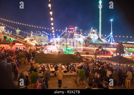 LONDON, UK - 23 November, 2018 Hyde Park Winter Wonderland traditional fun fair with food and drink stalls, carousels, prizes to win, and Christmas ac - Stock Photo