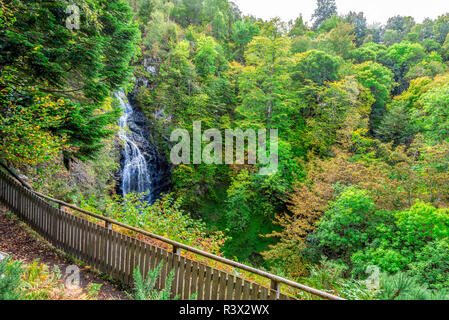 Scenic Falls of Divach viewpoint in early autumn. Located in Loch Ness area near Drumnadrochit near Drumnadrochit and Lewiston villages, Scotland - Stock Photo