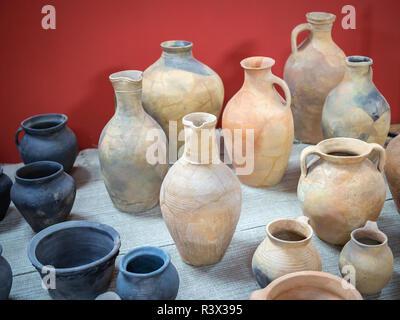 Group of diferent antique amphoras - Stock Photo