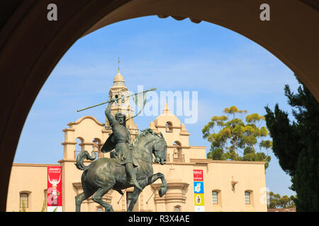 The El Cid sculpture, by artist Anna Hyatt Huntington. Balboa Park, San Diego, California, USA, Summer - Stock Photo