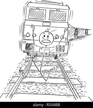Cartoon of Frightened Man Running on Tracks Away From the Train Riding Behind Him - Stock Photo