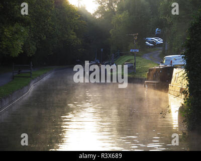 Narrow Boat trip from Anglo Welsh's Trevor  boat yard on the Llangollen Canal North Wales and England. - Stock Photo