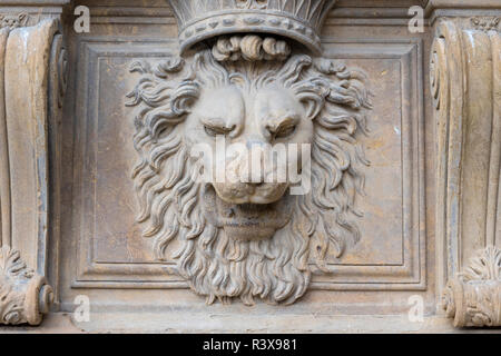 Florenze palazzo pitti lion statue bas relief. The lion of the wall in the Palazzo Pitti. - Stock Photo