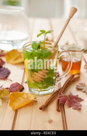 hot tea in autumn - Stock Photo