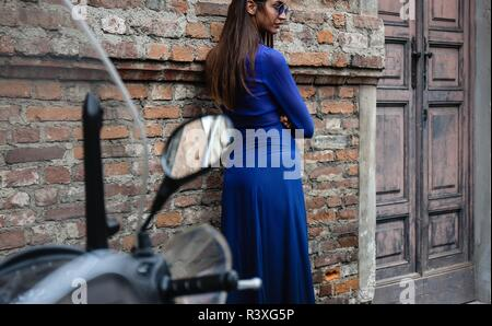 MILAN, Italy- September 21 2018: Sara Rossetto on the street during the Milan Fashion Week.