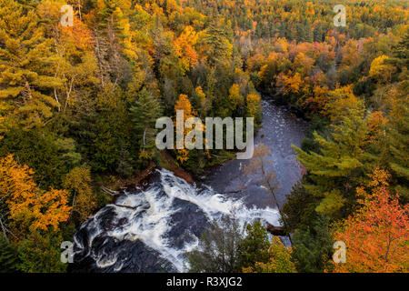 Agate Falls on the Middle Branch of the Ontonagon River in the Ottawa National Forest near Bruce Crossing, Michigan USA - Stock Photo