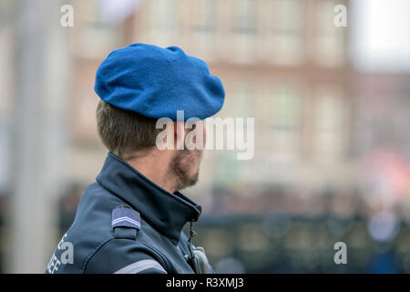 Close Up Of A Koninklijke Marechaussee At Amsterdam The Netherlands 2018 - Stock Photo