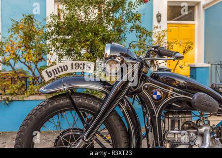 A beautiful old BMW motorbike - Stock Photo