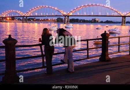 Davenport, Iowa, Rock Island Centennial Bridge across Mississippi River at Quad Cities - Stock Photo
