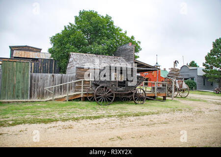 An old house and buggy in 1880 Town, South Dakota, movie set for Dances With Wolves. - Stock Photo