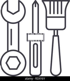 Building tools line icon concept. Building tools vector linear illustration, symbol, sign - Stock Photo