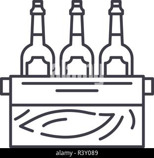 Case of beer line icon concept. Case of beer vector linear illustration, symbol, sign - Stock Photo
