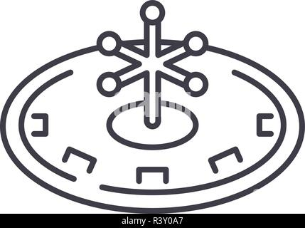 Casino roulette play line icon concept. Casino roulette play vector linear illustration, symbol, sign - Stock Photo