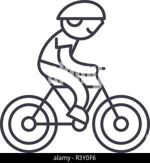Child riding a bike line icon concept. Child riding a bike vector linear illustration, symbol, sign - Stock Photo