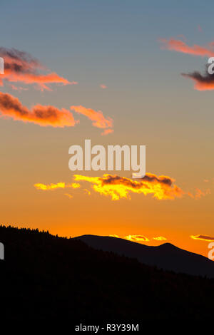 Sunset as seen from Dome Rock in New Hampshire's White Mountain National Forest. - Stock Photo