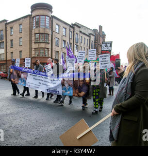 Glasgow, UK. 24th November 2018. Protesters marching for the St Andrew's Day Anti-Racism March & Rally at the Saltmarket in Glasgow. Credit: Kelly Neilson/Alamy Live News. - Stock Photo