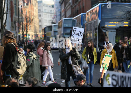 Manchester, UK. 24th Nov 2018. Extinction rebellion, climate protesters blockade city streets, Manchester, UK, 24th November 2018 Credit: Barbara Cook/Alamy Live News - Stock Photo