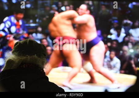 Yurakucho, Tokyo, Japan. 24th Nov, 2018. A Japanese man watches a sumo wrestling match on a TV monitor at Yurakucho Tokyo Japan on Friday November 24, 2018. Photo by: Ramiro Agustin Vargas Tabares Credit: Ramiro Agustin Vargas Tabares/ZUMA Wire/Alamy Live News - Stock Photo