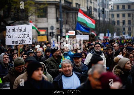 Budapest, Poland. 24th Nov, 2018. A protester seen holding a placard during the protest.December 1st would be the deadline, on which the Hungarian government should sign the agreement allowing the Central European University (CEU) to stay in Hungary, the Billionaire George Soros and one of the founders of the Central European University met with the Austrian Chancellor, Sebastian Kurz to discuss conditions to move parts of Central European University to the Austrian capital from Budapest. Credit: Omar Marques/SOPA Images/ZUMA Wire/Alamy Live News - Stock Photo