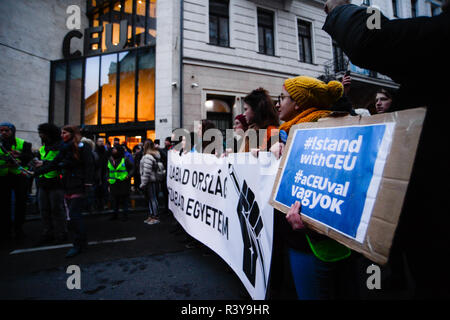 Budapest, Poland. 24th Nov, 2018. Students are seen holding a banner during the protest.December 1st would be the deadline, on which the Hungarian government should sign the agreement allowing the Central European University (CEU) to stay in Hungary, the Billionaire George Soros and one of the founders of the Central European University met with the Austrian Chancellor, Sebastian Kurz to discuss conditions to move parts of Central European University to the Austrian capital from Budapest. Credit: Omar Marques/SOPA Images/ZUMA Wire/Alamy Live News