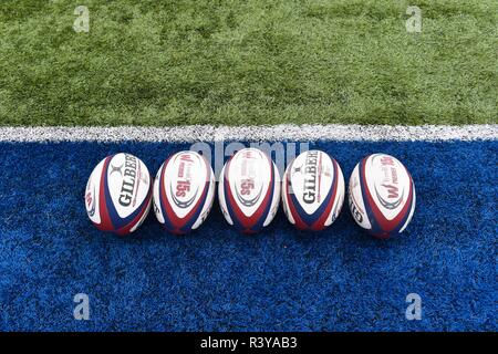 London, UK. 24th Nov 2018. The official match ball during Tyrrells Premier 15s League - Saracens Women against Loughborough Lightning at Allianz Park on Saturday, 24 November 2018. LONDON ENGLAND.  (Editorial use only, license required for commercial use. No use in betting, games or a single club/league/player publications.) Credit: Taka G Wu/Alamy Live News - Stock Photo