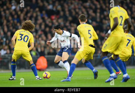 London, UK. 24th Nov, 2018. Heung-Min Son (2nd L) of Tottenham Hotspur vies with David Luiz (1st L) of Chelsea during the English Premier League match at the Wembley Stadium in London, Britain on Nov. 24, 2018. Tottenham won 3-1. Credit: Marek Dorcik/Xinhua/Alamy Live News - Stock Photo