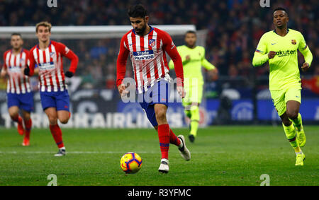 Diego Costa (Club Atletico de Madrid) seen in action during the Spanish La Liga match between Atletico Madrid and Barcelona at the Wanda Metropolitano Stadium in Madrid. (Final score; Atletico Madrid 1:1 Barcelona FC) - Stock Photo