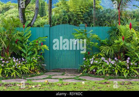 Hanalei, Hawaii, Kauai, flowers, green gate - Stock Photo