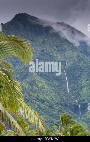 Hanalei Bay, Hawaii, Kauai, Palm Trees and waterfall - Stock Photo
