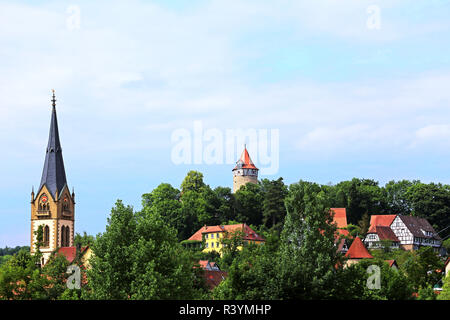 old town of möckmühl from the southeast - Stock Photo