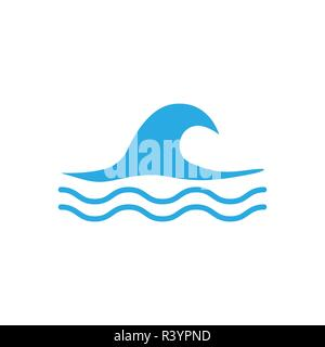 Set of vector icons, blue waves, water waves, flat style, vector - Stock Photo