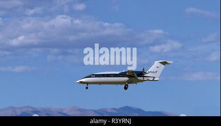Avanti SPA P180 Turboprop Airpkane Landing at Las Vegas - Stock Photo