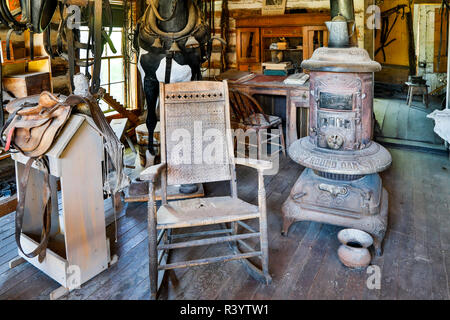 Usa, Montana, Nevada City. Living Museum, Antique Stove in the Livery Building - Stock Photo