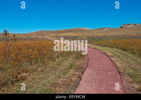USA, Nebraska, Harrison, Agate Fossil Beds National Monument, Daemonelix Trail - Stock Photo
