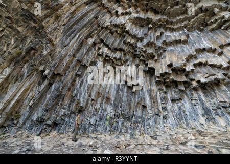 Symphony of Stones, Basalt columns formation along Garni gorge, Kotayk Province, Armenia - Stock Photo