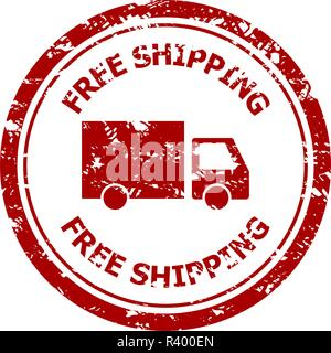 Free shipping rubber stamp isolated on white. Illustration of free shipping stamp seal, delivery guarantee vector - Stock Photo