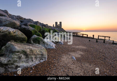 Reculver Towers on the North Kent coast near Herne Bay at sunset. - Stock Photo