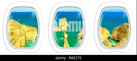 Porthole frame windows interior flying on scenic landscape of boat trip between cliffs and natural rock formations of Ponta da Piedade. Aerial view with white background copy space. - Stock Photo