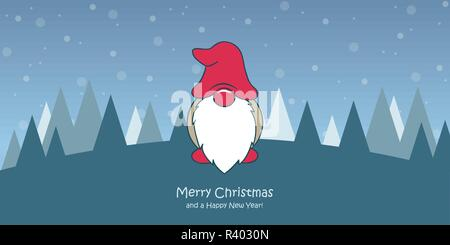 christmas greeting card with cute christmas dwarf and snowy landscape vector illustration EPS10 - Stock Photo