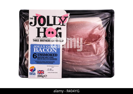 SWINDON, UK - NOVEMBER 18, 2018: The Jolly Hog unsmoked british dry cure back bacon rashers on a white background - Stock Photo